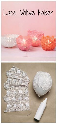 DIY lace votive holder, if you do the chandelier things like these too Diy And Crafts Sewing, Crafts To Sell, Fun Crafts, Arts And Crafts, Valentine Day Crafts, Holiday Crafts, Valentines, Creation Deco, Ideias Diy