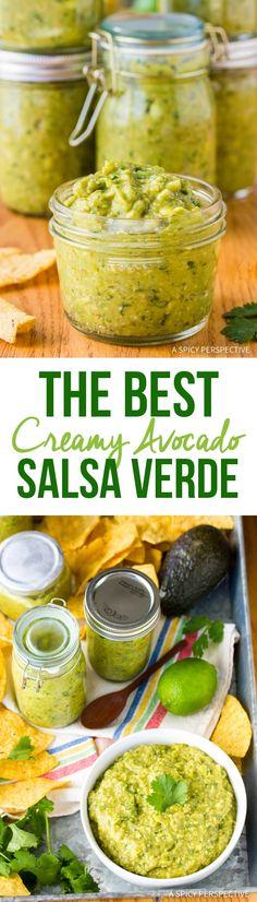 The Best Creamy Avocado Salsa Verde Recipe Ever! The Best Creamy Avocado Salsa Verde Recipe Ever! Avocado Salsa Verde Recipe, Tomatillo Salsa Verde, Salsa Picante, Avocado Recipes, Best Salsa Recipe, Tex Mex, Tomatillo Recipes, Roasted Tomatillo, Jalapeno Recipes