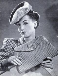 1940s fashion: hat and purse