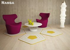 Formabilio - Nanga è un tappeto in tessuto misto dalla forma pentagonale.