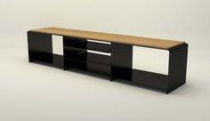 Design Metallmoebel Kaminholz-Sideboard Brennholz-Aufbewahrung aus Stahl Holz Eiche Stahlzart