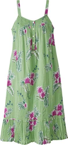 Aloha Floral Nightgown: Hibiscus flowers on a bright green background float about your figure with nothing to bind or restrict your movement. And the sleeveless style makes the most of cooling breezes—even if they're coming from your window and not a beach-front resort.