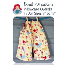 pillowcase overalls Doll Clothes Patterns, Clothing Patterns, Waldorf Dolls, Pillow Cases, Overalls, Pajama Pants, Pajamas, Tutorials, Fashion