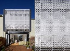 Chan Architecture have added a custom-designed metal screen to this house, providing a decorative accent and privacy to the interior of the home. Metal Barn Homes, Metal Building Homes, Best Exterior Paint, Exterior House Colors, Victorian Terrace House, Metal Screen, Exterior Cladding, Metal Buildings, Facade Architecture