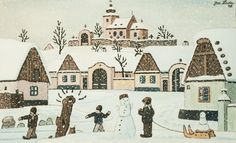 Most of Josef Lada's holiday themed artworks depict charming Czech villages in the midst of winter, snowcapped and calm. Characterized by pastel cottages, Czech villagers, and small smoking chimneys, these works evoke a feeling of warmth and nostalgia. Czech Republic, Painters, Winter Wonderland, Illustrators, Christmas Cards, Nostalgia, Europe, Artwork, Houses