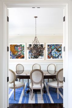 """TheseFineWalls """"Cacophony In Blue"""" photograph featured in Hamptons home Breakfast Room Dining American Coastal Contemporary Cottage Farmhouse Transitional by TheseFineWalls Interior Design Themes, Interior Decorating, Decorating Ideas, Coastal Style, Coastal Decor, Striped Room, Hamptons Decor, Sweet Home, Contemporary Cottage"""