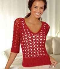 Free english crochet pattern sweater openwork
