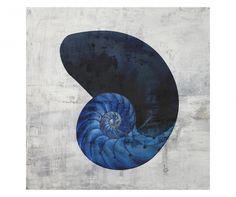 Tablou Nautillus Black & White Indigo 40x40 cm Decoration, Celestial, Black And White, Tea Time, Indigo, Outdoor, Gray, Impressionism, Toile