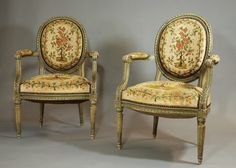 Pair Of French Painted Open Armchairs - Antiques Atlas