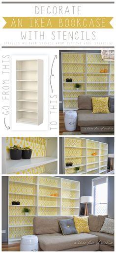 A DIY stenciled bookcase using the Trellis Allover stencil pattern in yellow. http://www.cuttingedgestencils.com/allover-stencil.html