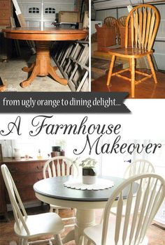 Farmhouse Table Makeover with HomeRight Sprayer - Dining Set - Ideas of Dining - Outdated Dining Set Gets Farmhouse Makeover by Prodigal Pieces www. Refurbished Furniture, Repurposed Furniture, Shabby Chic Furniture, Furniture Makeover, Distressed Furniture, Refurbished Kitchen Tables, Rustic Painted Furniture, Kitchen Table Makeover, Kitchen Decor