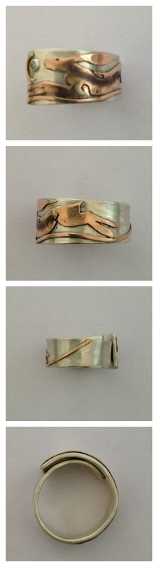 Hare ring showing the hare around the ring from the front to the back plus the ring wrap-over..