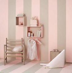 Bathroom Wallpaper Brown Paint Colors Ideas For 2019 Bathroom Wallpaper Brown, Wall Wallpaper, Grey Striped Walls, Bedroom Wall, Bedroom Decor, Wall Decor, Brown Paint Colors, Gray Paint, Grey Wall Tiles