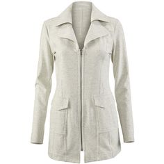 Foldover Collar Jacket CAbi ❤ liked on Polyvore featuring outerwear, jackets, cabi, grey, grey jacket, french terry jacket, collar jacket and gray jacket