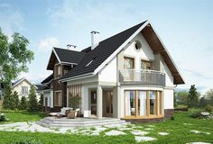 Projekat moderne kuće s potkrovljem i garažom – Heliodor Beautiful House Plans, Dream House Plans, Beautiful Homes, Tiny Studio Apartments, Micro House, Design Case, Home Fashion, Planer, Floor Plans