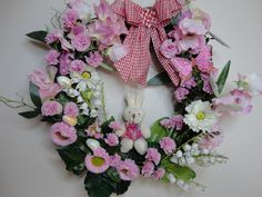Couronne de lapin de Pâques, œufs, papillon, fleurs, fait main, unique, couronne…