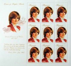 """Princess Diana """"Queen of People's Hearts"""" Plate Block of 9 Stamps Issued by Tanzania, Diana - Princess of Wales 1961 - 1997."""