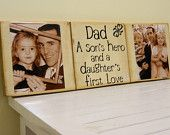 Personalized Fathers day gift Dad a sons hero and a daughters first love wooden sign with pictures and vinyl quote