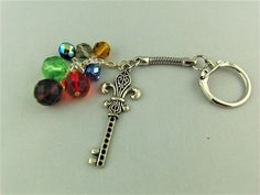 Silver Key Charm and Multi Coloured Crystal Bead Key Ring