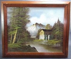 Vintage-Original-Oil-Painting-on-Canvas-Old-Mill-Stream-Signed-H-Wilson