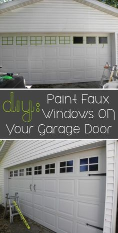 "LOL, I actually kinda like it and what a difference Create ""windows"" with paint Added hardware kit especially made to add interest to garage doors"