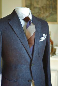 Ariston Linen Herringbone, Drakes Twill Silk. The three patch, two button notch lapel sports coat. For GW.