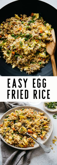 Fried Rice The Easiest Egg Fried Rice Recipe - a healthy, filling dinner ready in 15 minutes!The Easiest Egg Fried Rice Recipe - a healthy, filling dinner ready in 15 minutes! Pescatarian Recipes, Vegetarian Recipes Easy, Healthy Recipes, Vegetarian Rice Dishes, Ovo Vegetarian, Meal Recipes, Healthy Filling Meals, Vegetarian Sweets, Easy Egg Recipes