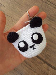 Crochet Pouch, Crochet Keychain, Panda, Crochet Storage, Romantic Things, Crochet Accessories, Crochet For Kids, Crochet Dolls, Baby Shoes