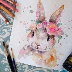 conejo pintado con acuarela