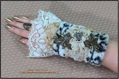 Steampunk Cuff Victorian Wrist Cuff LEOPARD LEATHER Vintage LACE Textile Cuff French Provincial Steampunk Clothing by SweetDarknessDesigns by SweetDarknessDesigns on Etsy https://www.etsy.com/listing/214895684/steampunk-cuff-victorian-wrist-cuff