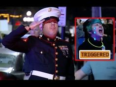 Whoops: Anti-Trump Protesters Run Into The Marines - YouTube