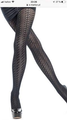 Strumpfhose Trini Schwarz S-L Black lycra Tights von Gabriella