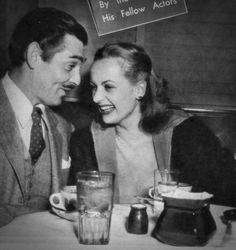 Clark Gable and Carole Lombard so lovely....30s vintage found casual photo diner laughing suit jacket tie hair