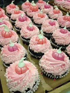 Pink pumpkin cupcakes for a Cinderella birthday party