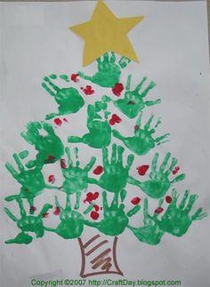 Handprint crafts - Winter and Christmas Love this handprint Christmas tree. Christmas Handprint Crafts, Handprint Art, Preschool Christmas, Noel Christmas, Christmas Activities, Christmas Crafts For Kids, Christmas Projects, Holiday Crafts, Christmas Program