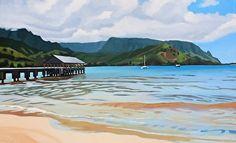 "The Hanalei Pier by Brenda Cablayan Acrylic ~ 30"" x 48"""