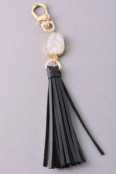 Druzy Keychain (Black)