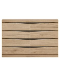 Kensington 4 + 4 Wide Chest of Drawers in Oak. - This fantastic grained oak finish with the contrasting dark trim makes this top quality collection of bedroom furniture the ideal destination for the most modern or traditional homes.