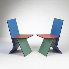 VERNER PANTON    Vilbert chairs, pair    Ikea  Sweden, 1994  Melamine coated MDF  16 w x 21 d x 33 h inches