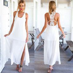 2016 Summer Style Elegant Women Long Beach Dresses O Neck Casual White  Solid Lace Maxi Dress Vestidos f3939016f8c9