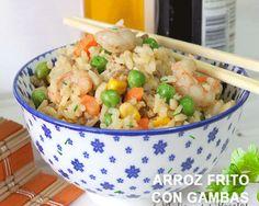 Cómo hacer arroz frito con gambas, carne y verduras Arroz Frito, Latin Food, Fried Rice, Pasta Recipes, Potato Salad, Menu, Healthy Recipes, Healthy Food, Carne