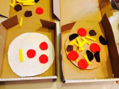 """Mini Murphy's"" pizza boxes = great recycle project. Create a felt cardboard pizza with ""build your own"" topppings"