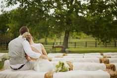 Love the idea or replacing chairs with hay bails for the ceremony!