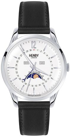 New Henry London Unisex Edgeware Watch Moonphase Black Leather Strap online - Findhitstoday Gents Watches, Watches For Men, London Watch, Titanium Watches, Unisex, Watch Case, Fashion Watches, Black Leather, Pure Products
