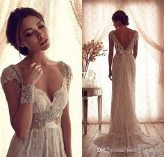 Wholesale Lace Bridal Dress - Buy Anna Campbell A-line V-neck Sheer Cap Sleeve Beading Crystal Bow Backless Sweep Train Lace Bridal Dress 2014 Classic Wedding Dress DL1310581, $145.96 | DHgate