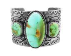 Sterling-Silver-ROYSTON-TURQUOISE-Wide-Cuff-Bracelet-s6-75-Navajo-Phil-Secatero