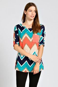 Colorblock Chevron Pocket Top Spring Summer Women Fashion Outfits