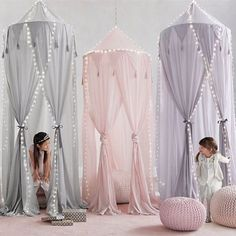 RH baby&child's Cotton Voile Play Canopy:A little imagination goes a lot further when it& accompanied by our hanging canopy, which transforms any nook into an enchanted enclosure just perfect for play. Big Girl Bedrooms, Little Girl Rooms, Baby Bed Canopy, Girls Bedroom Canopy, Canopy Tent, Canopy Bed Curtains, Curtain Room, Canopies, Girls Bed Tent
