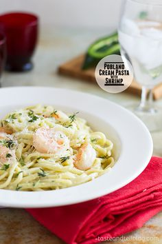 Poblano Cream Pasta with Shrimp. Poblano Cream Pasta with Shrimp. Fish Recipes, Seafood Recipes, Pasta Recipes, Great Recipes, Cooking Recipes, Favorite Recipes, Dinner Dishes, Pasta Dishes, Cream Pasta