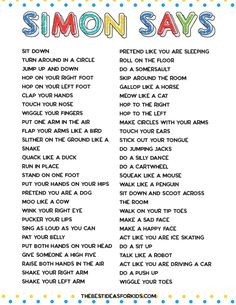 indoor activities for kids 50 Simon Says Ideas for kids. Easy ideas for toddlers and older kids! Free printable pdf included with the list of the Simon Says actions. Home Activities, Toddler Activities, Outside Activities For Kids, Physical Activities For Kids, Gross Motor Activities, Kids Printable Activities, Activities For 4 Year Olds, Preschool Movement Activities, Fun Printables For Kids